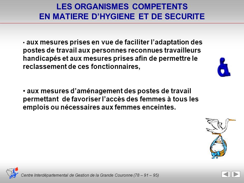 Centre Interdépartemental de Gestion de la Grande Couronne (78 – 91 – 95) LES ORGANISMES COMPETENTS EN MATIERE DHYGIENE ET DE SECURITE aux mesures pri