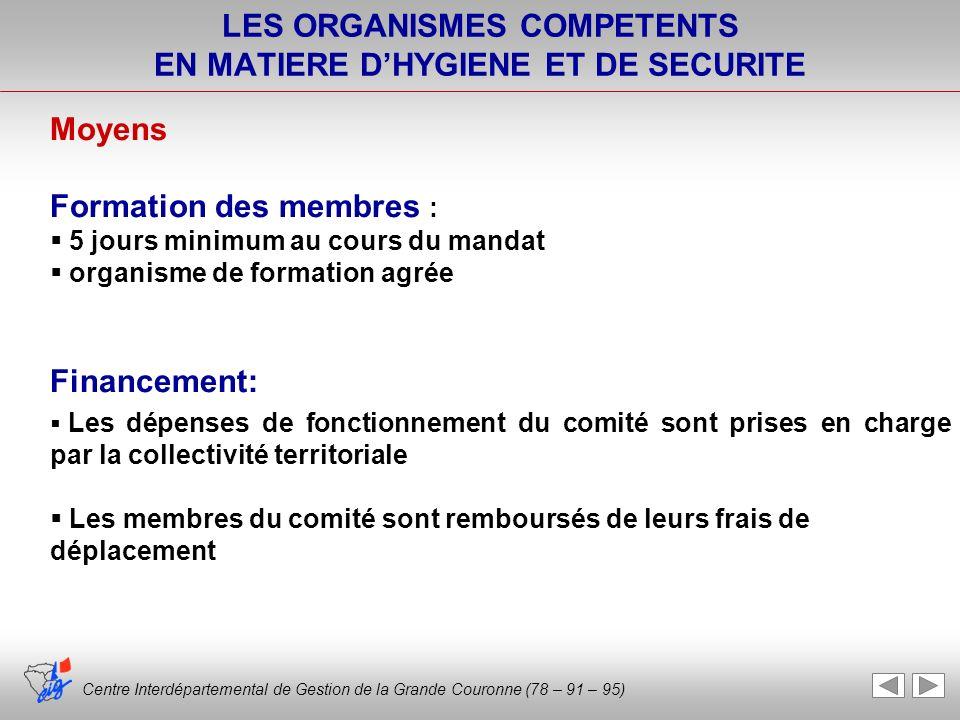 Centre Interdépartemental de Gestion de la Grande Couronne (78 – 91 – 95) LES ORGANISMES COMPETENTS EN MATIERE DHYGIENE ET DE SECURITE Moyens Formatio