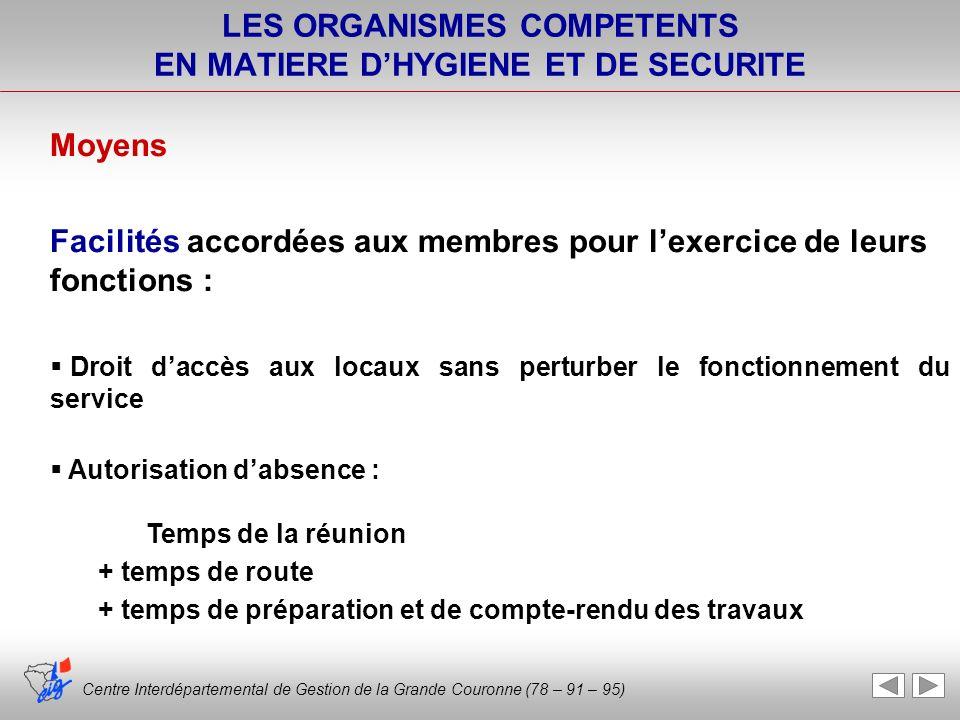 Centre Interdépartemental de Gestion de la Grande Couronne (78 – 91 – 95) LES ORGANISMES COMPETENTS EN MATIERE DHYGIENE ET DE SECURITE Moyens Facilité