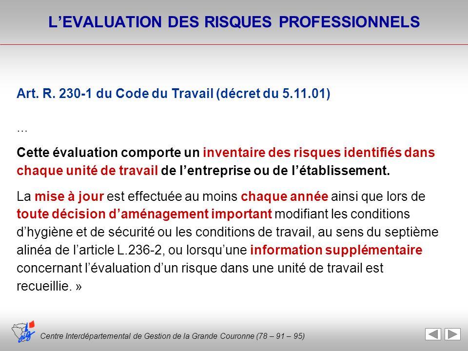 Centre Interdépartemental de Gestion de la Grande Couronne (78 – 91 – 95) Art. R. 230-1 du Code du Travail (décret du 5.11.01) … Cette évaluation comp