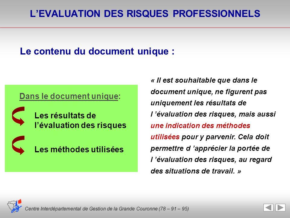 Centre Interdépartemental de Gestion de la Grande Couronne (78 – 91 – 95) « Il est souhaitable que dans le document unique, ne figurent pas uniquement