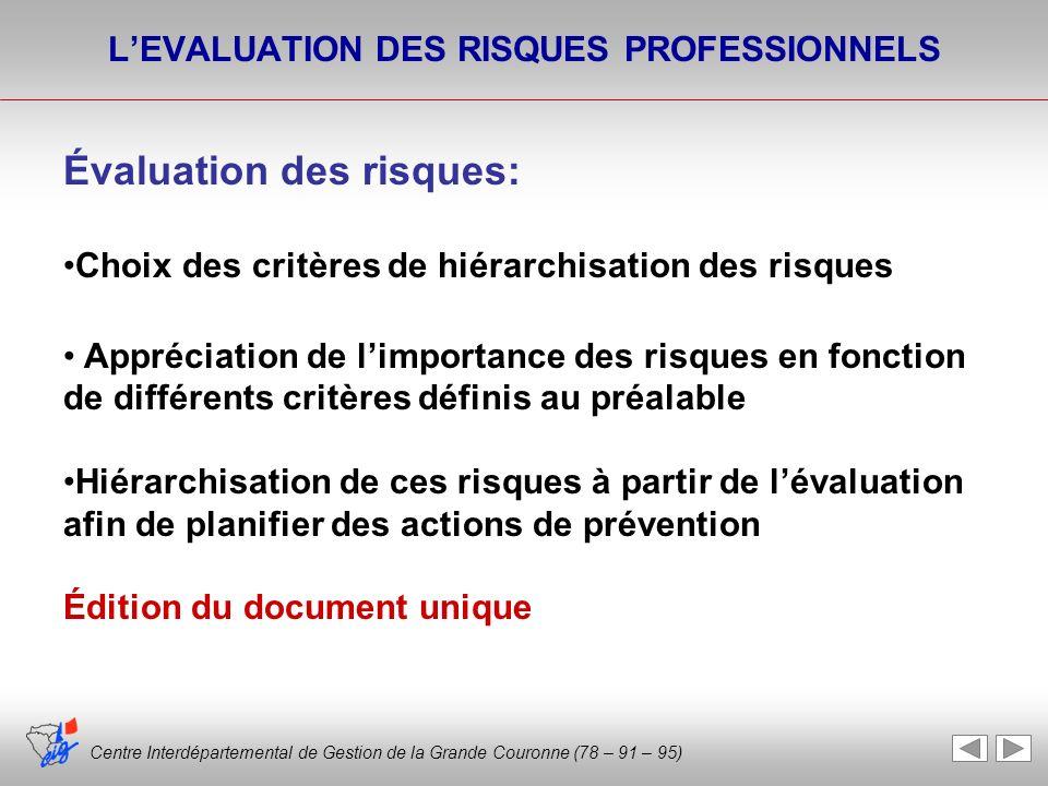 Centre Interdépartemental de Gestion de la Grande Couronne (78 – 91 – 95) LEVALUATION DES RISQUES PROFESSIONNELS Évaluation des risques: Choix des cri