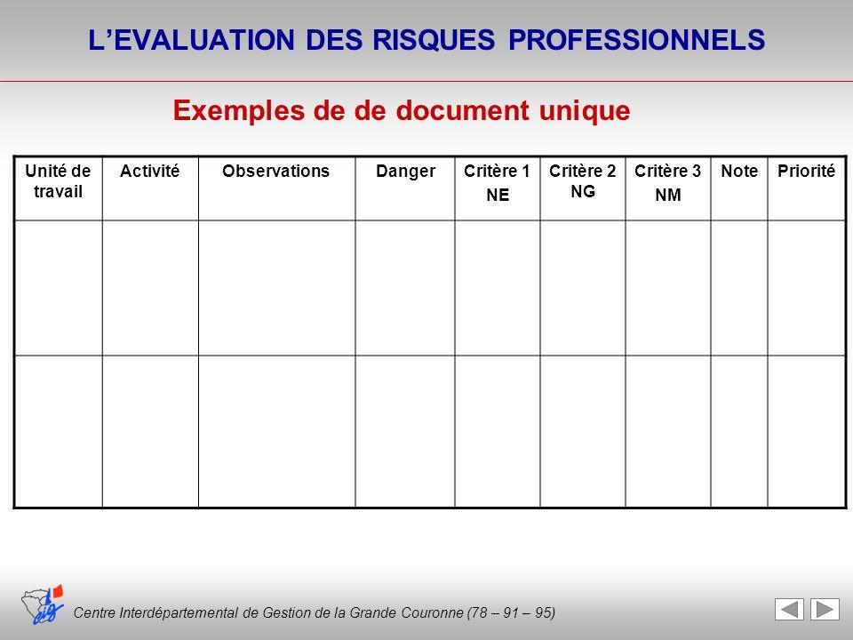 Centre Interdépartemental de Gestion de la Grande Couronne (78 – 91 – 95) LEVALUATION DES RISQUES PROFESSIONNELS Exemples de de document unique Unité