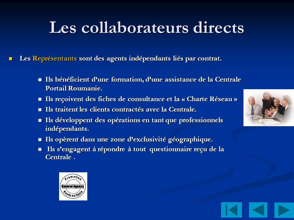 Les collaborateurs directs Les Représentants sont des agents indépendants liés par contrat.