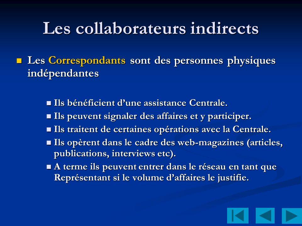 Les collaborateurs indirects Les Correspondants sont des personnes physiques indépendantes Les Correspondants sont des personnes physiques indépendantes Ils bénéficient dune assistance Centrale.