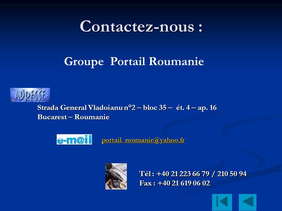 Contactez-nous : Strada General Vladoianu n°2 – bloc 35 – ét.