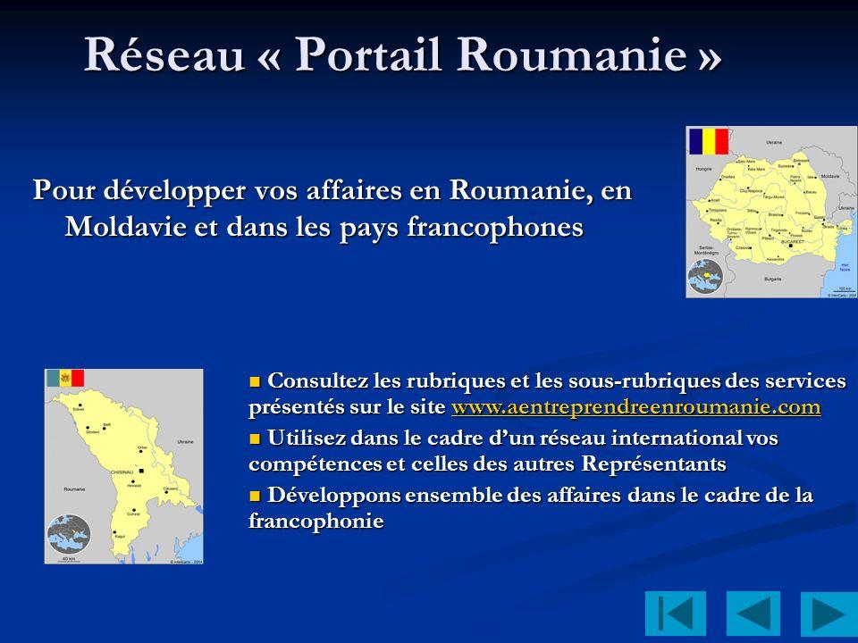 Réseau « Portail Roumanie » Pour développer vos affaires en Roumanie, en Moldavie et dans les pays francophones Consultez les rubriques et les sous-rubriques des services présentés sur le site www.aentreprendreenroumanie.com Consultez les rubriques et les sous-rubriques des services présentés sur le site www.aentreprendreenroumanie.comwww.aentreprendreenroumanie.com Utilisez dans le cadre dun réseau international vos compétences et celles des autres Représentants Utilisez dans le cadre dun réseau international vos compétences et celles des autres Représentants Développons ensemble des affaires dans le cadre de la francophonie Développons ensemble des affaires dans le cadre de la francophonie