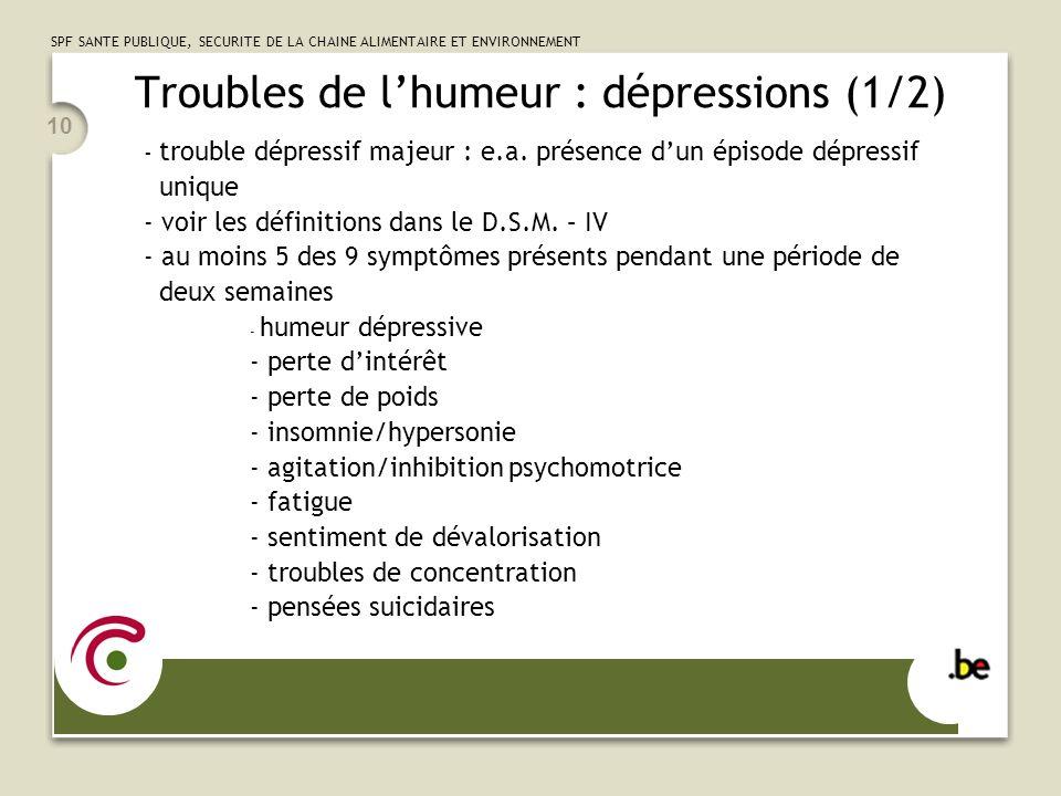 SPF SANTE PUBLIQUE, SECURITE DE LA CHAINE ALIMENTAIRE ET ENVIRONNEMENT 10 Troubles de lhumeur : dépressions (1/2) - trouble dépressif majeur : e.a.