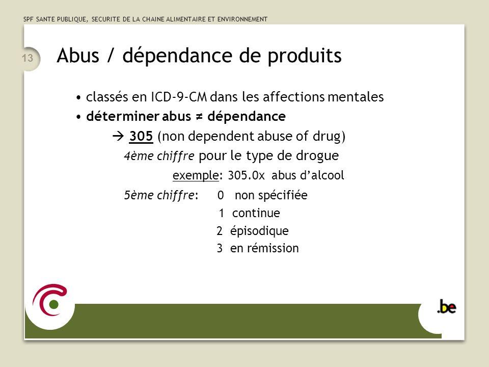 SPF SANTE PUBLIQUE, SECURITE DE LA CHAINE ALIMENTAIRE ET ENVIRONNEMENT 13 Abus / dépendance de produits classés en ICD-9-CM dans les affections mentales déterminer abus dépendance 305 (non dependent abuse of drug) 4ème chiffre pour le type de drogue exemple: 305.0x abus dalcool 5ème chiffre: 0 non spécifiée 1 continue 2 épisodique 3 en rémission