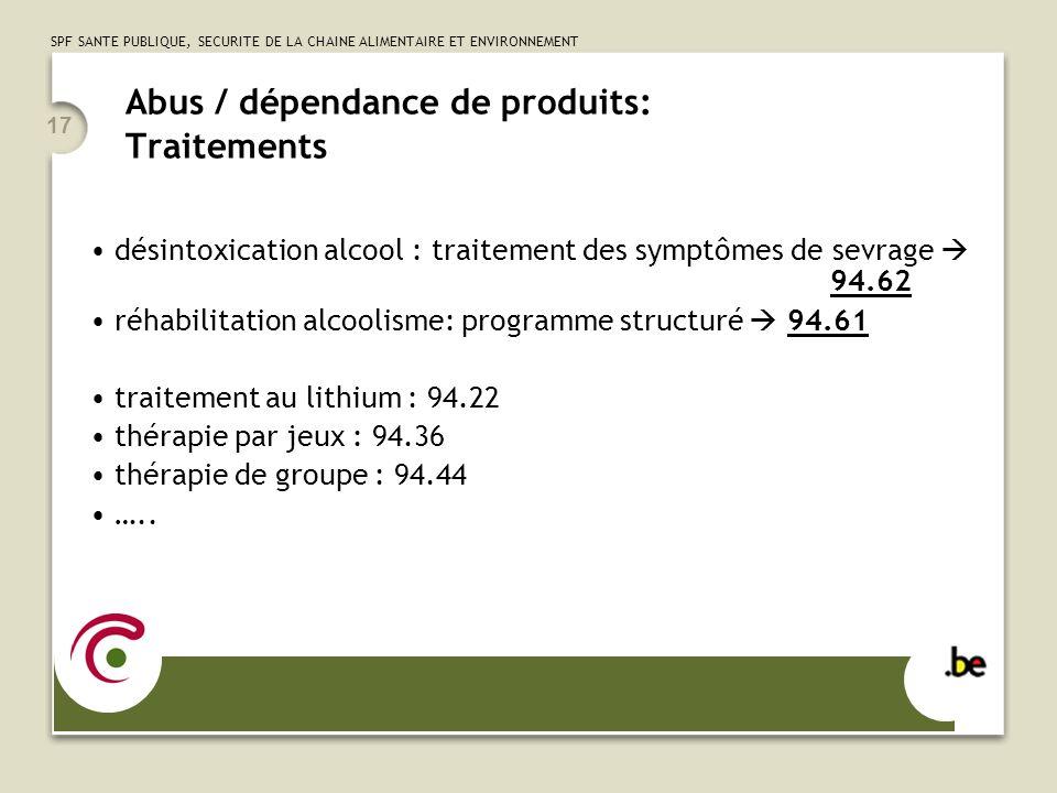 SPF SANTE PUBLIQUE, SECURITE DE LA CHAINE ALIMENTAIRE ET ENVIRONNEMENT 17 Abus / dépendance de produits: Traitements désintoxication alcool : traitement des symptômes de sevrage 94.62 réhabilitation alcoolisme: programme structuré 94.61 traitement au lithium : 94.22 thérapie par jeux : 94.36 thérapie de groupe : 94.44 …..