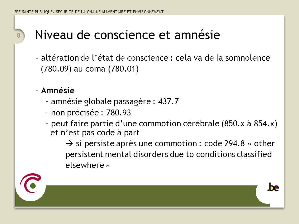 SPF SANTE PUBLIQUE, SECURITE DE LA CHAINE ALIMENTAIRE ET ENVIRONNEMENT 8 Niveau de conscience et amnésie - altération de létat de conscience : cela va de la somnolence (780.09) au coma (780.01) - Amnésie - amnésie globale passagère : 437.7 - non précisée : 780.93 - peut faire partie dune commotion cérébrale (850.x à 854.x) et nest pas codé à part si persiste après une commotion : code 294.8 « other persistent mental disorders due to conditions classified elsewhere »