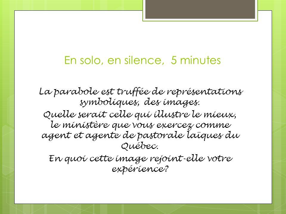 En solo, en silence, 5 minutes La parabole est truffée de représentations symboliques, des images.