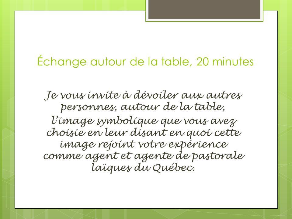 Échange autour de la table, 20 minutes Je vous invite à dévoiler aux autres personnes, autour de la table, limage symbolique que vous avez choisie en