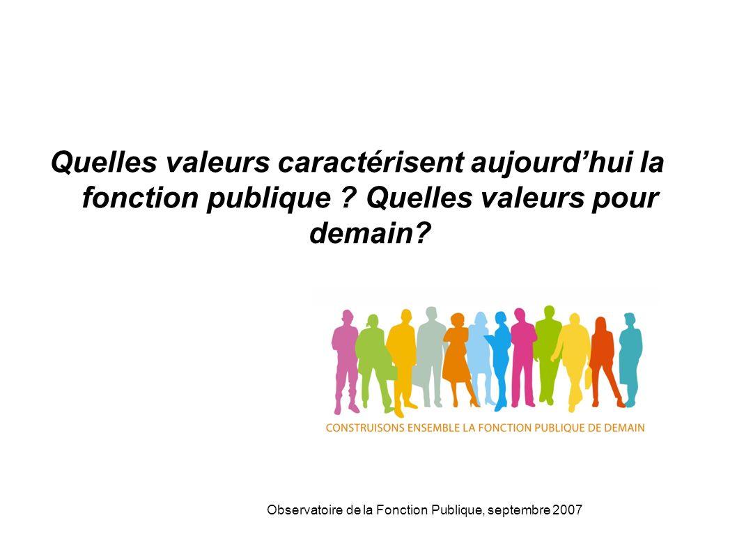 Observatoire de la Fonction Publique, septembre 2007 Quelles valeurs caractérisent aujourdhui la fonction publique .
