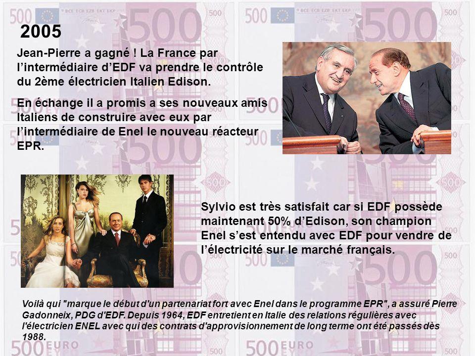 Sylvio est très satisfait car si EDF possède maintenant 50% dEdison, son champion Enel sest entendu avec EDF pour vendre de lélectricité sur le marché français.