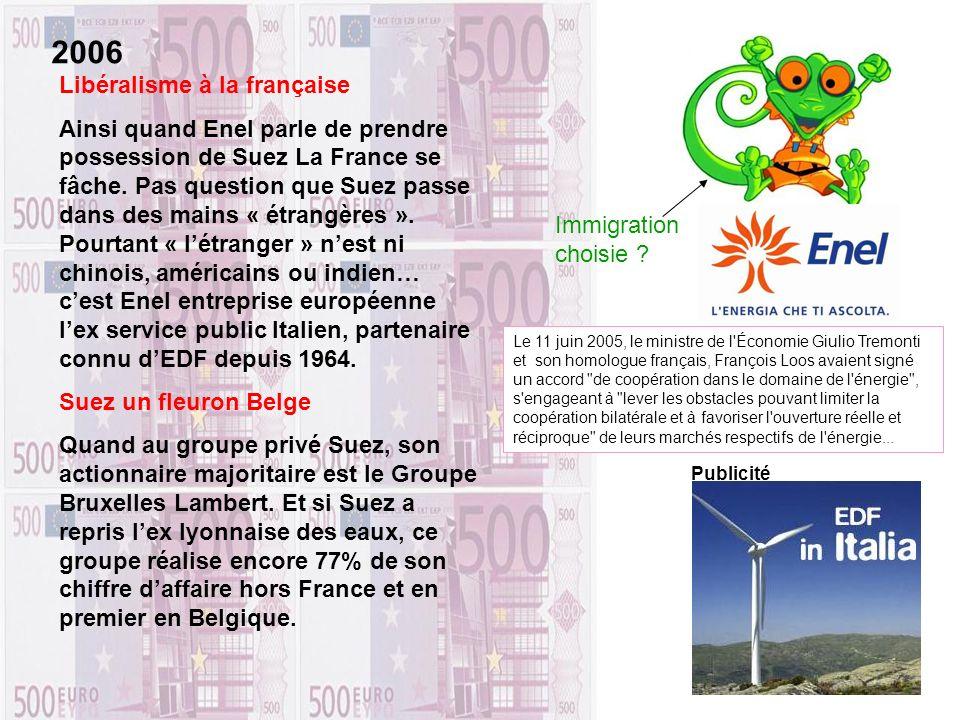 Libéralisme à la française Ainsi quand Enel parle de prendre possession de Suez La France se fâche. Pas question que Suez passe dans des mains « étran
