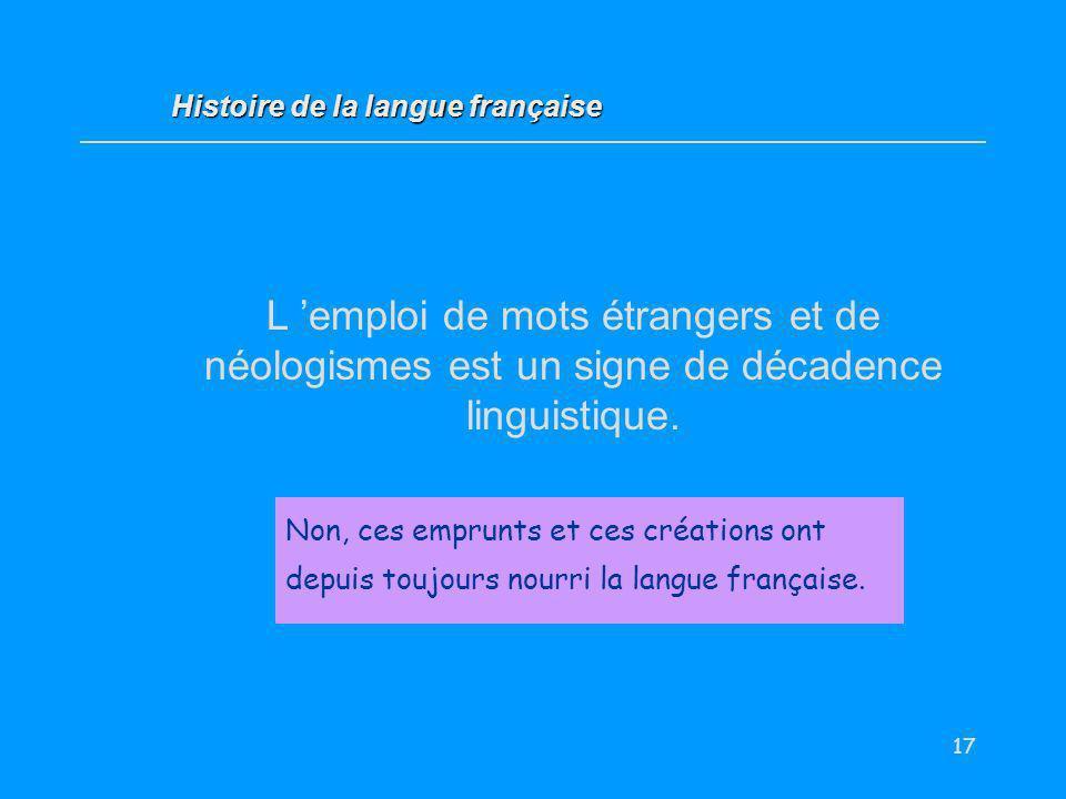 17 L emploi de mots étrangers et de néologismes est un signe de décadence linguistique. Vrai / Faux ? Non, ces emprunts et ces créations ont depuis to