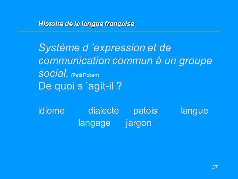 37 Système d expression et de communication commun à un groupe social. (Petit Robert) De quoi s agit-il ? idiome dialectepatoislangue langage jargon H