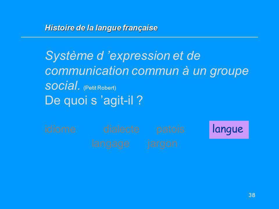 38 Système d expression et de communication commun à un groupe social. (Petit Robert) De quoi s agit-il ? idiome dialectepatoislangue langage jargon l