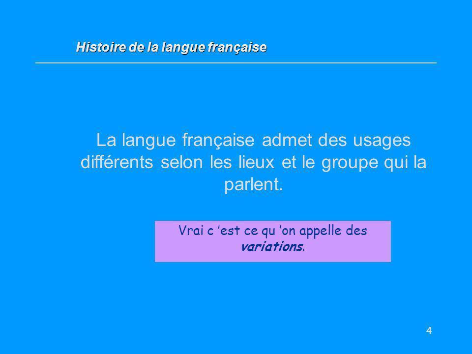 4 La langue française admet des usages différents selon les lieux et le groupe qui la parlent. Vrai / Faux ? Vrai c est ce qu on appelle des variation