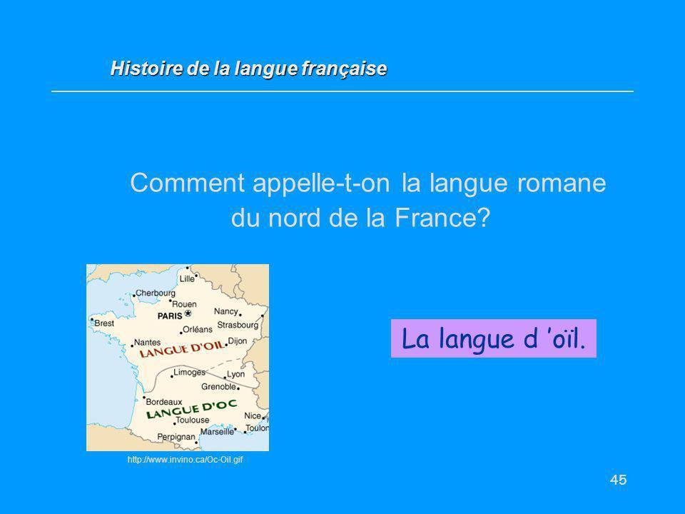 45 Comment appelle-t-on la langue romane du nord de la France? La langue d oïl. Histoire de la langue française http://www.invino.ca/Oc-Oil.gif