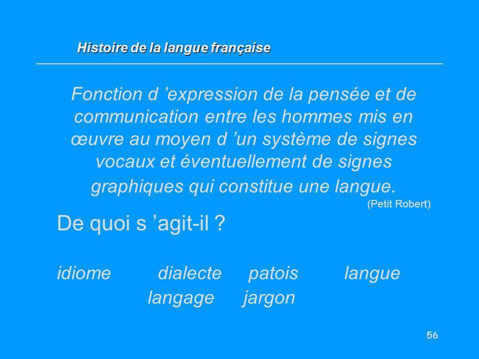 56 Fonction d expression de la pensée et de communication entre les hommes mis en œuvre au moyen d un système de signes vocaux et éventuellement de si