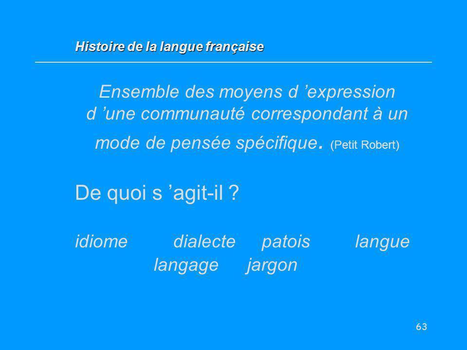63 Ensemble des moyens d expression d une communauté correspondant à un mode de pensée spécifique. (Petit Robert) De quoi s agit-il ? idiome dialectep