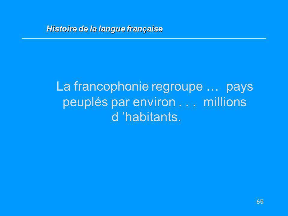 65 La francophonie regroupe … pays peuplés par environ... millions d habitants. Histoire de la langue française