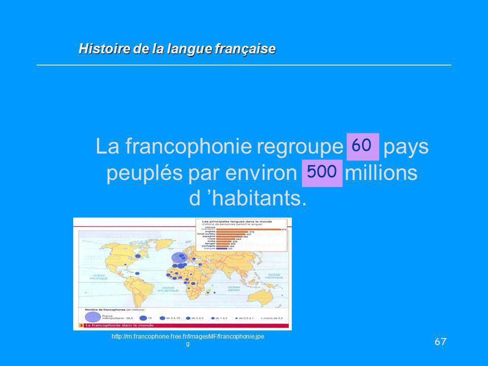 67 La francophonie regroupe … pays peuplés par environ... millions d habitants. 60 Histoire de la langue française 500 http://m.francophone.free.fr/Im