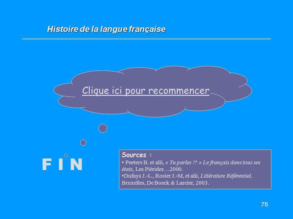 75 F I N Clique ici pour recommencer Histoire de la langue française Sources : Peeters B. et alii, « Tu parles !? » Le français dans tous ses états, L