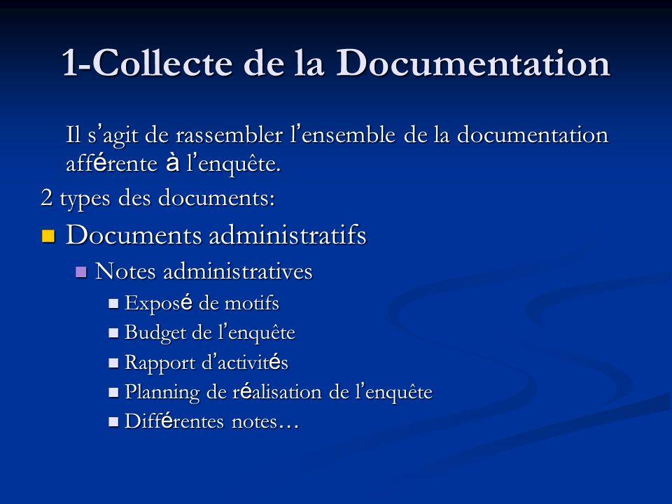 1-Collecte de la Documentation Il s agit de rassembler l ensemble de la documentation aff é rente à l enquête.