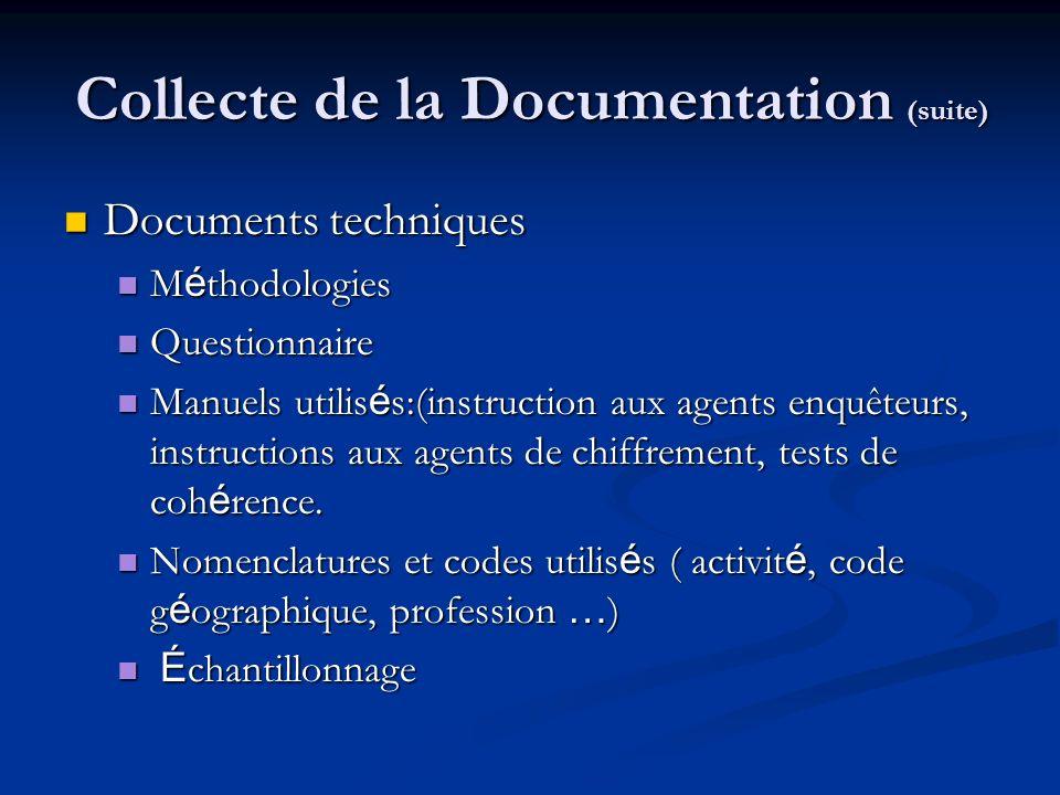 Collecte de la Documentation (suite) Structure du fichier de donn é es et description de chaque variable.