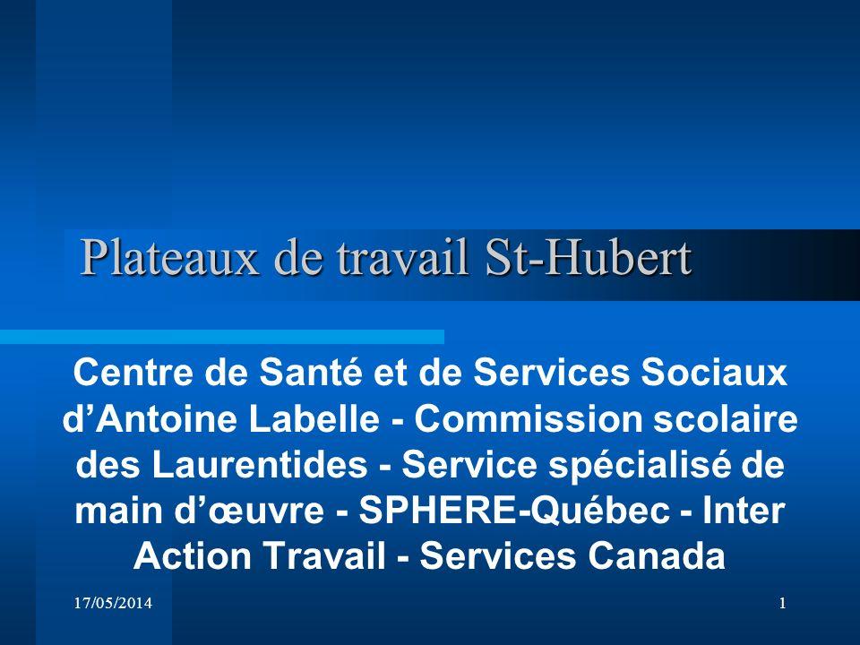 17/05/20141 Plateaux de travail St-Hubert Plateaux de travail St-Hubert Centre de Santé et de Services Sociaux dAntoine Labelle - Commission scolaire des Laurentides - Service spécialisé de main dœuvre - SPHERE-Québec - Inter Action Travail - Services Canada