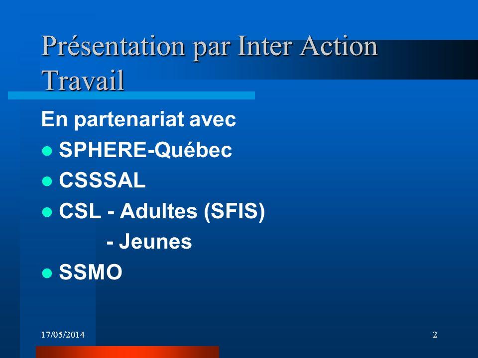 17/05/20142 Présentation par Inter Action Travail En partenariat avec SPHERE-Québec CSSSAL CSL - Adultes (SFIS) - Jeunes SSMO