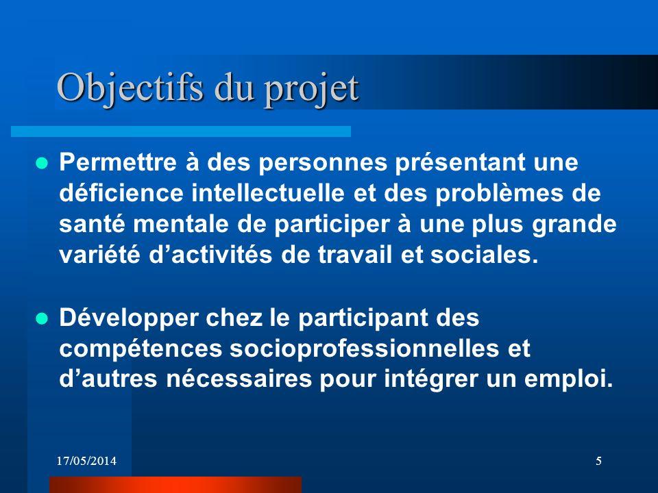 17/05/20145 Objectifs du projet Permettre à des personnes présentant une déficience intellectuelle et des problèmes de santé mentale de participer à une plus grande variété dactivités de travail et sociales.