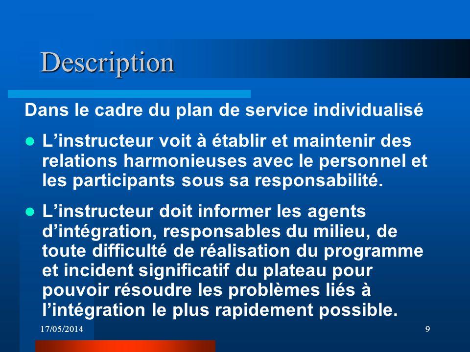 17/05/20149 Description Dans le cadre du plan de service individualisé Linstructeur voit à établir et maintenir des relations harmonieuses avec le personnel et les participants sous sa responsabilité.
