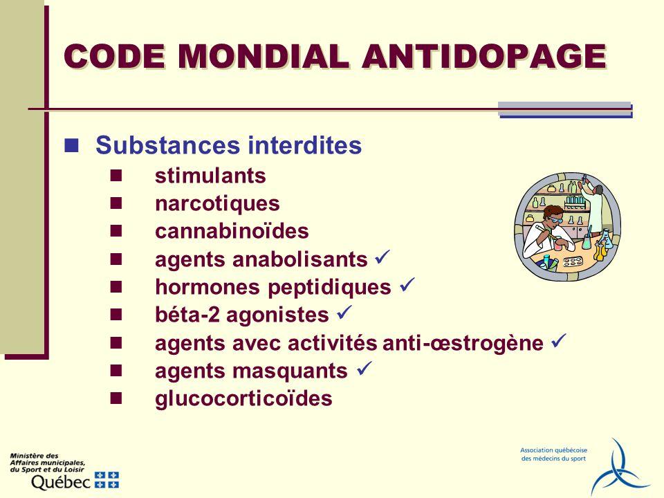 CODE MONDIAL ANTIDOPAGE Méthodes interdites amélioration du transfert doxygène (dopage sanguin) manipulation pharmacologique, chimique et physique dopage génétique