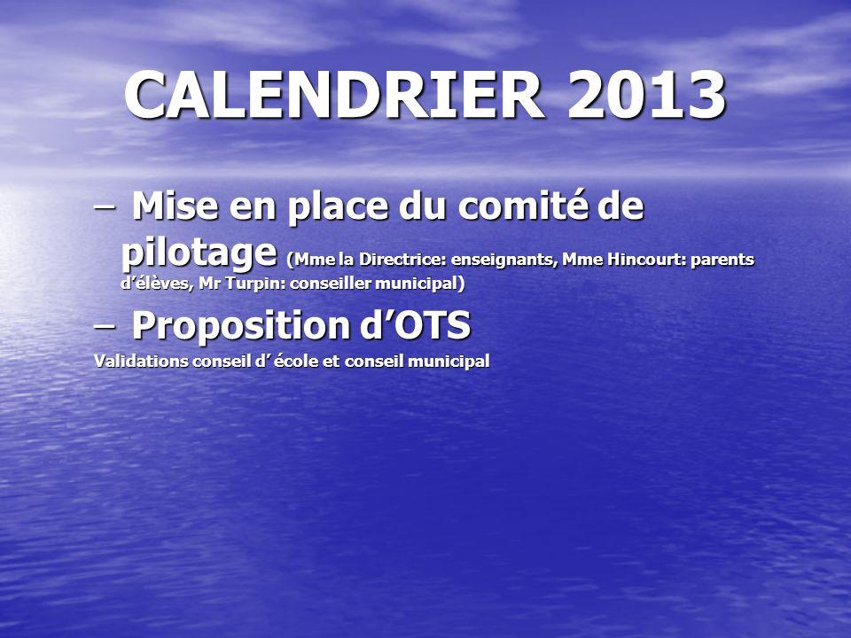 CALENDRIER 2013 – Mise en place du comité de pilotage (Mme la Directrice: enseignants, Mme Hincourt: parents délèves, Mr Turpin: conseiller municipal)