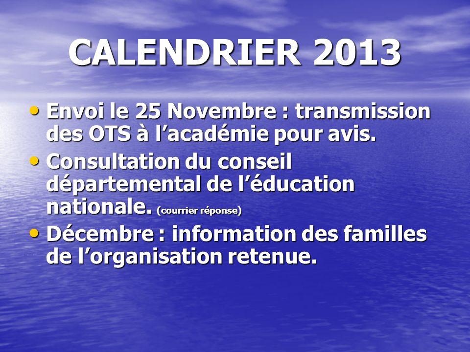 CALENDRIER 2013 Envoi le 25 Novembre : transmission des OTS à lacadémie pour avis. Envoi le 25 Novembre : transmission des OTS à lacadémie pour avis.