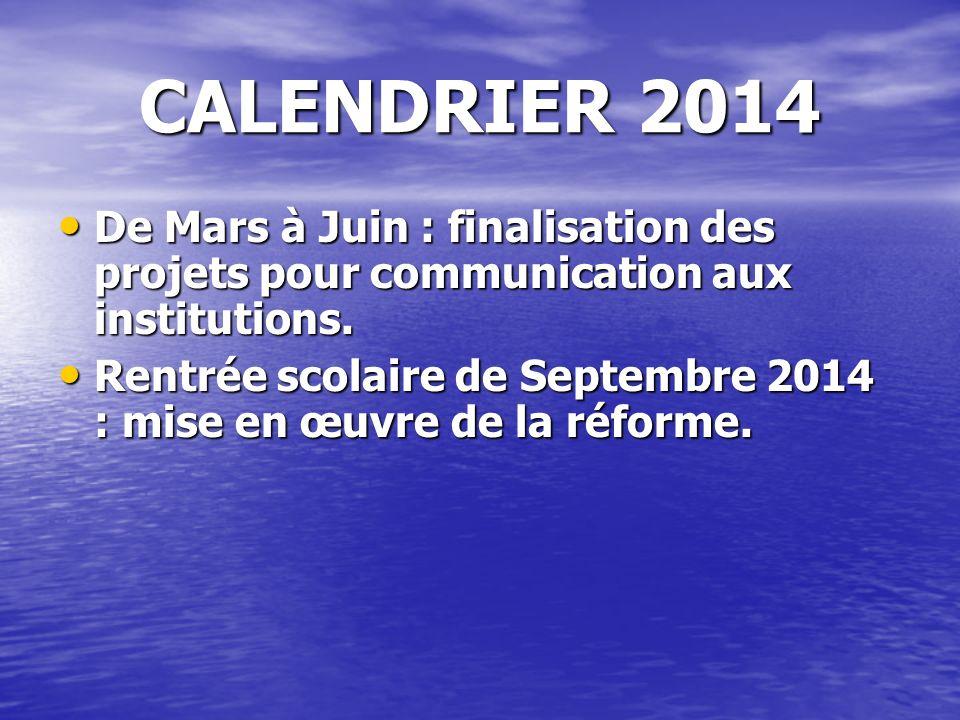 CALENDRIER 2014 De Mars à Juin : finalisation des projets pour communication aux institutions. De Mars à Juin : finalisation des projets pour communic