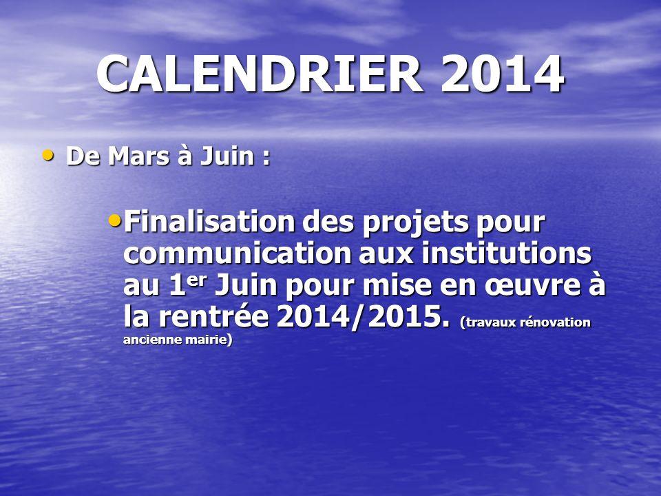 CALENDRIER 2014 De Mars à Juin : De Mars à Juin : Finalisation des projets pour communication aux institutions au 1 er Juin pour mise en œuvre à la re