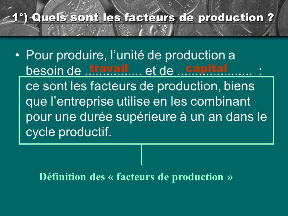 1°) Quels sont les facteurs de production .