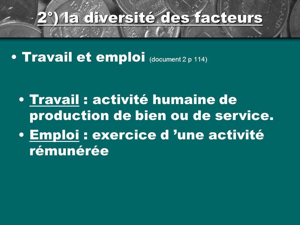 2°) la diversité des facteurs Travail et emploi (document 2 p 114) Travail : activité humaine de production de bien ou de service.