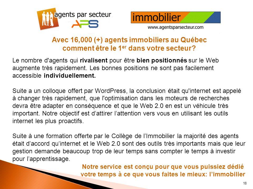 Agents par secteur est très actif avec ses blogues et micro-blogues. agentsparsecteur.comagentsparsecteur.com a plusieurs blogues spécifiques à limmob