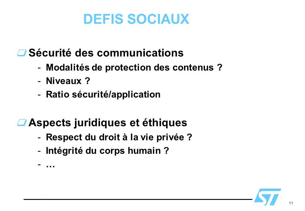 11 DEFIS SOCIAUX Sécurité des communications -Modalités de protection des contenus ? -Niveaux ? -Ratio sécurité/application Aspects juridiques et éthi