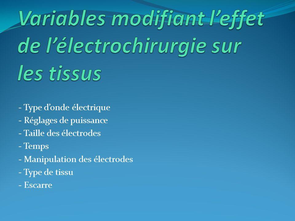 - Type donde électrique - Réglages de puissance - Taille des électrodes - Temps - Manipulation des électrodes - Type de tissu - Escarre
