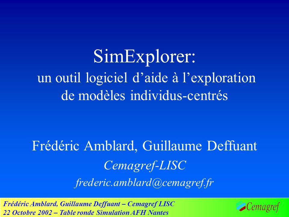 Frédéric Amblard, Guillaume Deffuant – Cemagref LISC 22 Octobre 2002 – Table ronde Simulation AFH Nantes Lenvironnement SimExplorer Programme de simulation Librairies