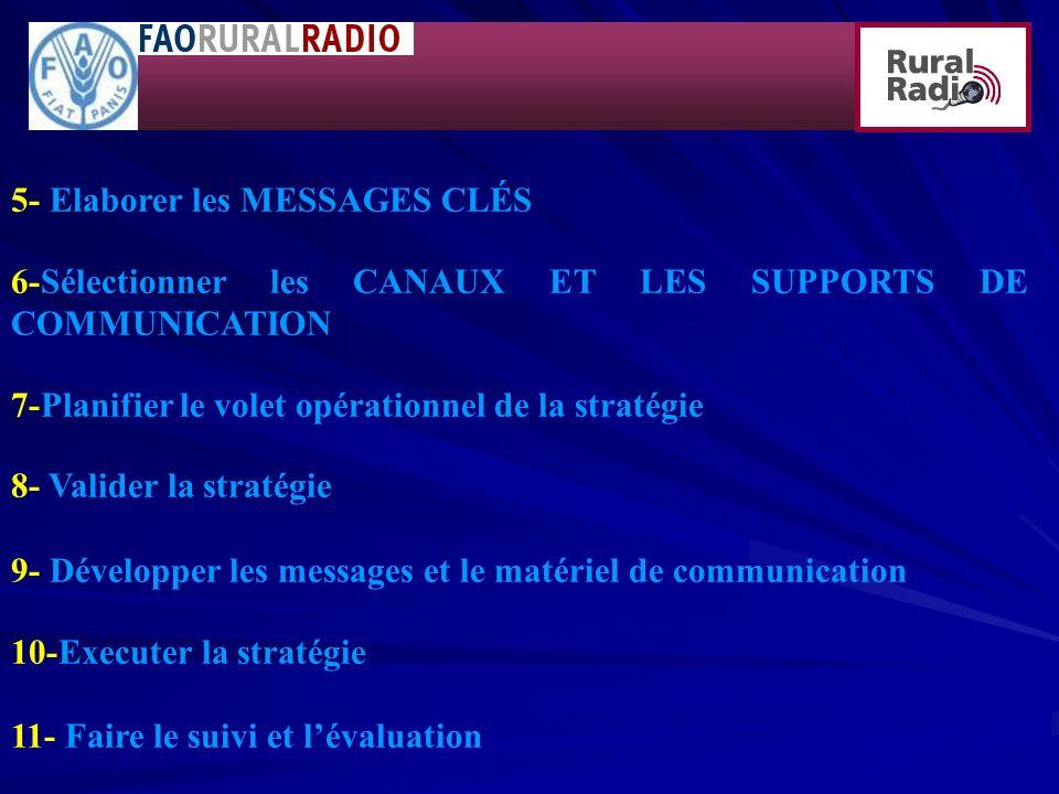 5- Elaborer les MESSAGES CLÉS 6-Sélectionner les CANAUX ET LES SUPPORTS DE COMMUNICATION 7-Planifier le volet opérationnel de la stratégie 8- Valider la stratégie 9- Développer les messages et le matériel de communication 10-Executer la stratégie 11- Faire le suivi et lévaluation