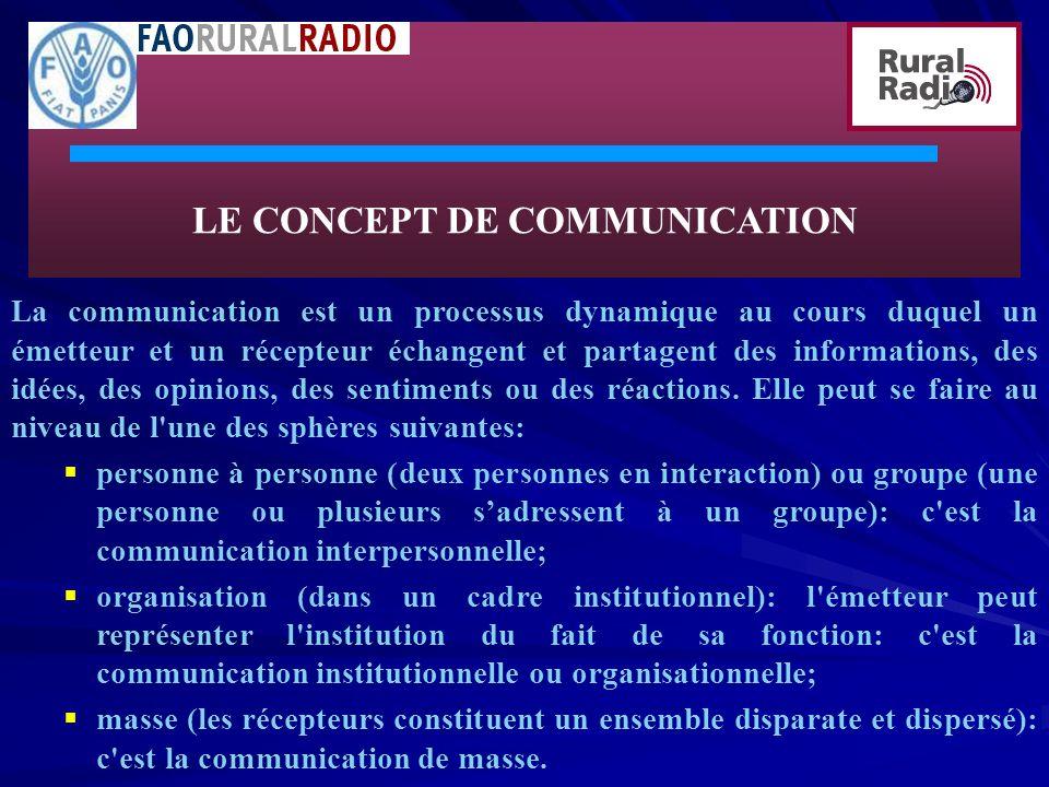 LE CONCEPT DE COMMUNICATION La communication est un processus dynamique au cours duquel un émetteur et un récepteur échangent et partagent des informations, des idées, des opinions, des sentiments ou des réactions.