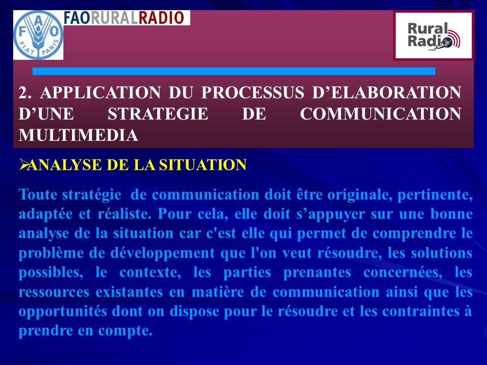 2. APPLICATION DU PROCESSUS DELABORATION DUNE STRATEGIE DE COMMUNICATION MULTIMEDIA ANALYSE DE LA SITUATION Toute stratégie de communication doit être
